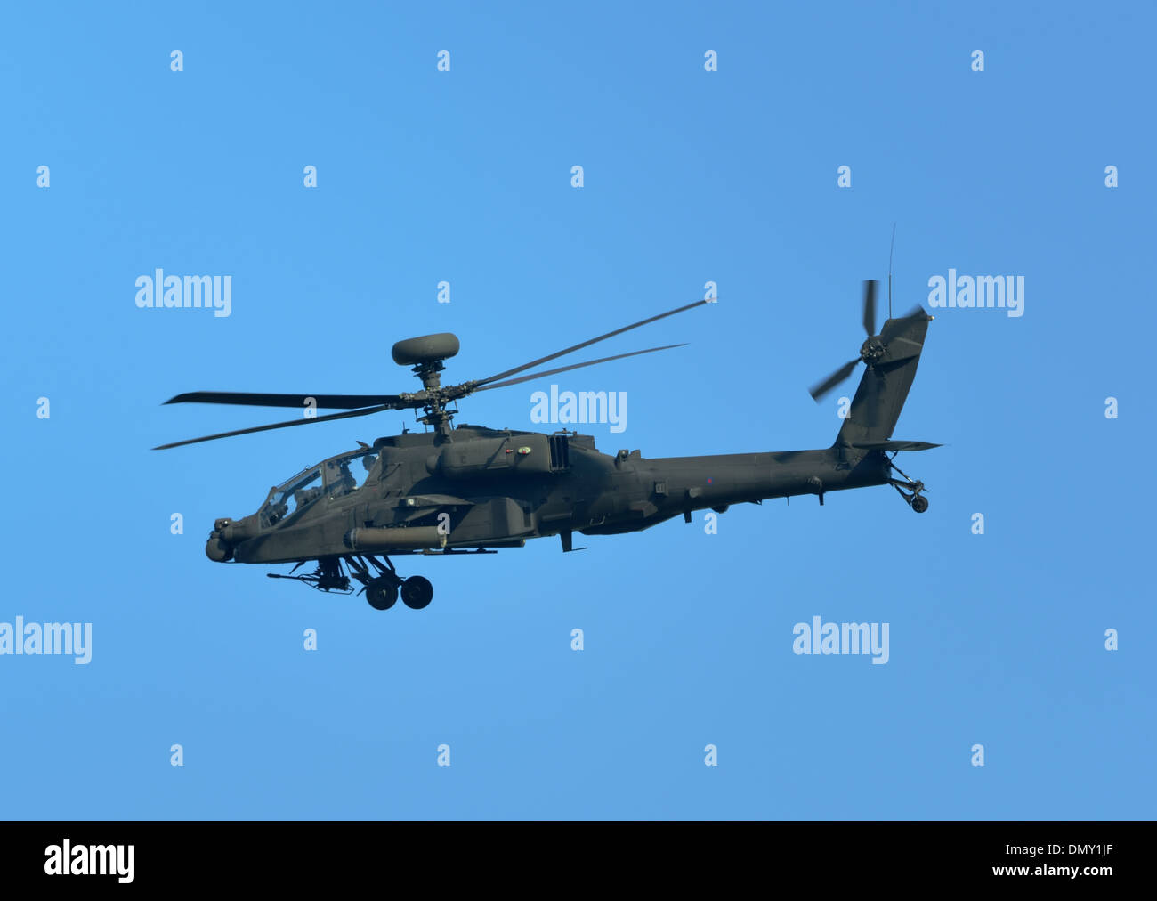 British army air corps AgustaWestland WAH-64D / Apache Longbow AH1 attack helicopter - Stock Image