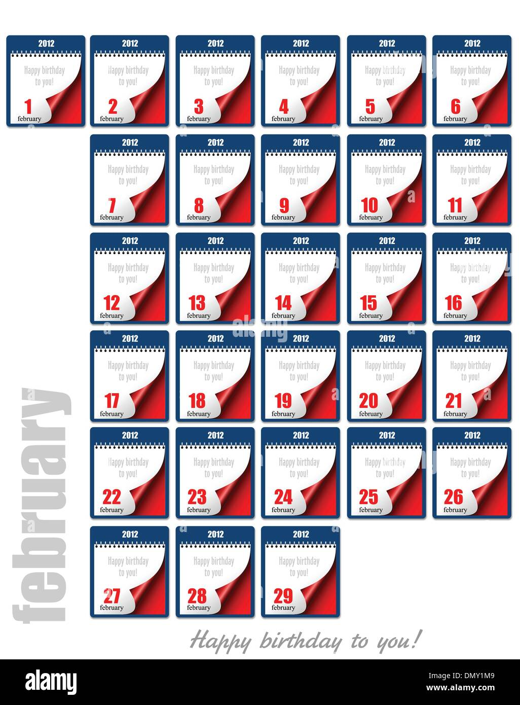 Tear-off Calendar 2012. Each day of February. Happy birthday to - Stock Image