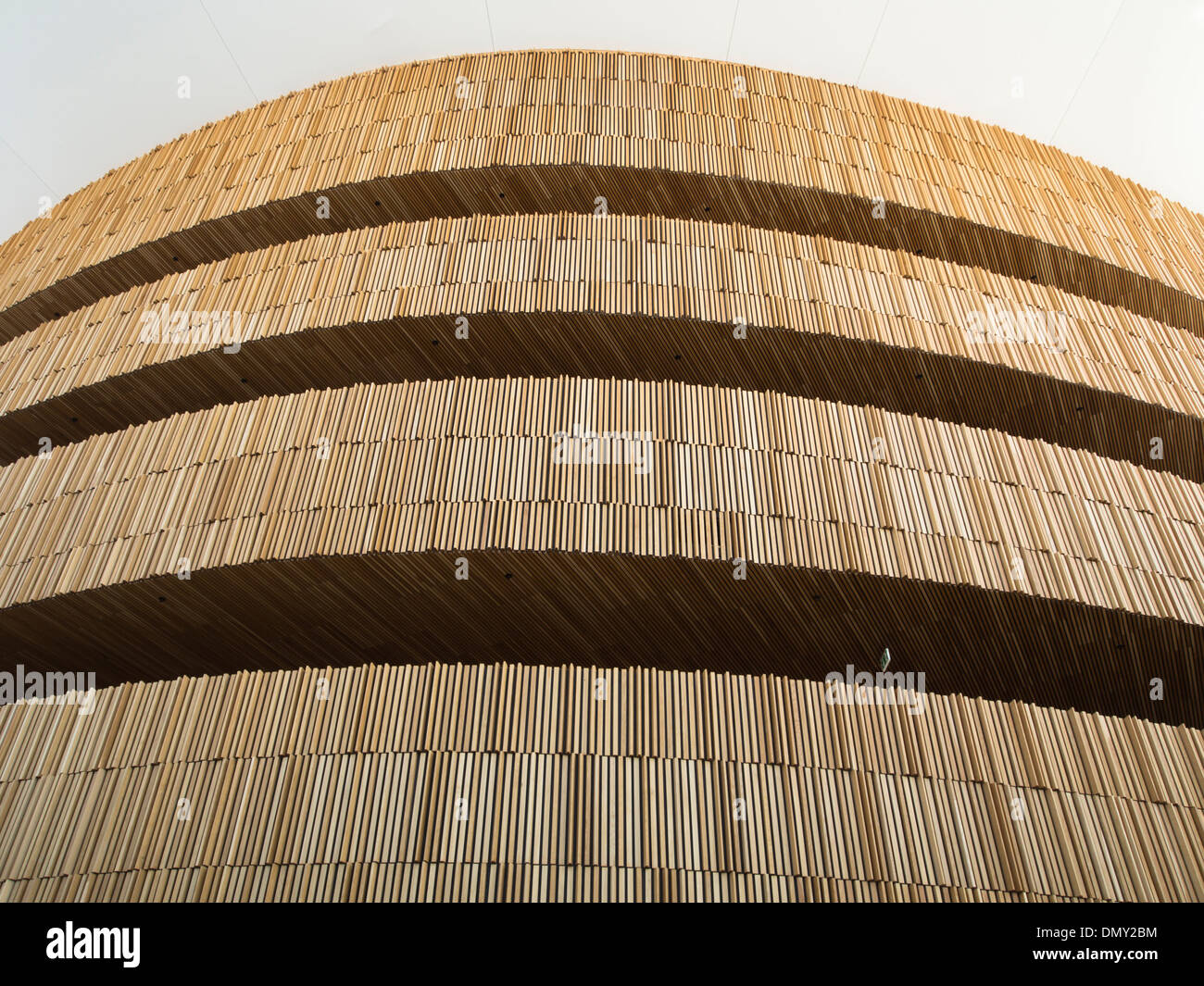 Oslo Norway partial view the foyer wall in the Opera House designed by the architects Snøhetta Stock Photo
