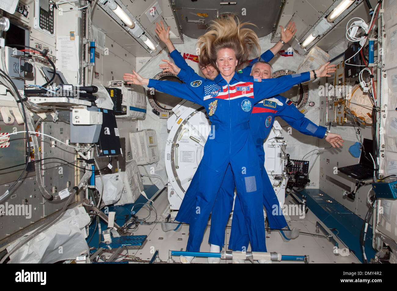 Astronauts in zero gravity on the International Space Station. - Stock Image