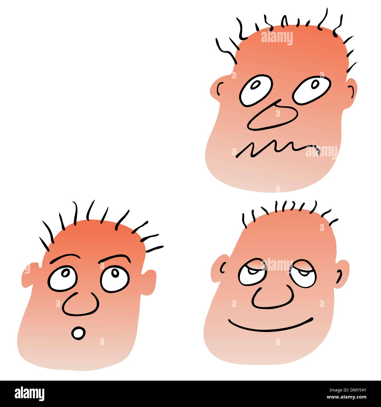 vector different facial expressions - Stock Image