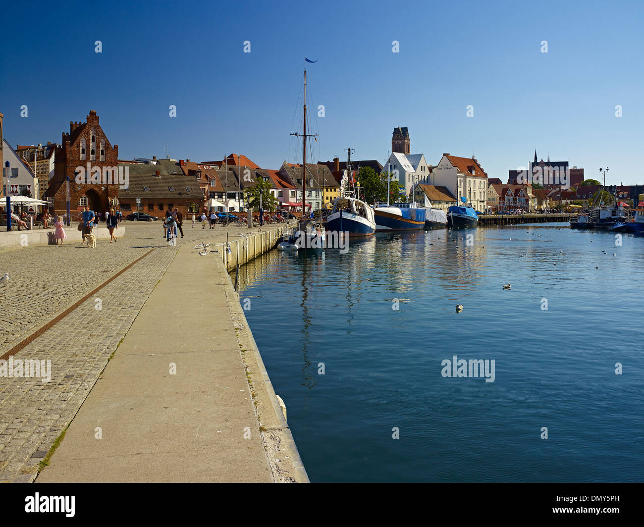 Harbour with St George Church, Wismar, Mecklenburg-Vorpommern, Germany - Stock Image
