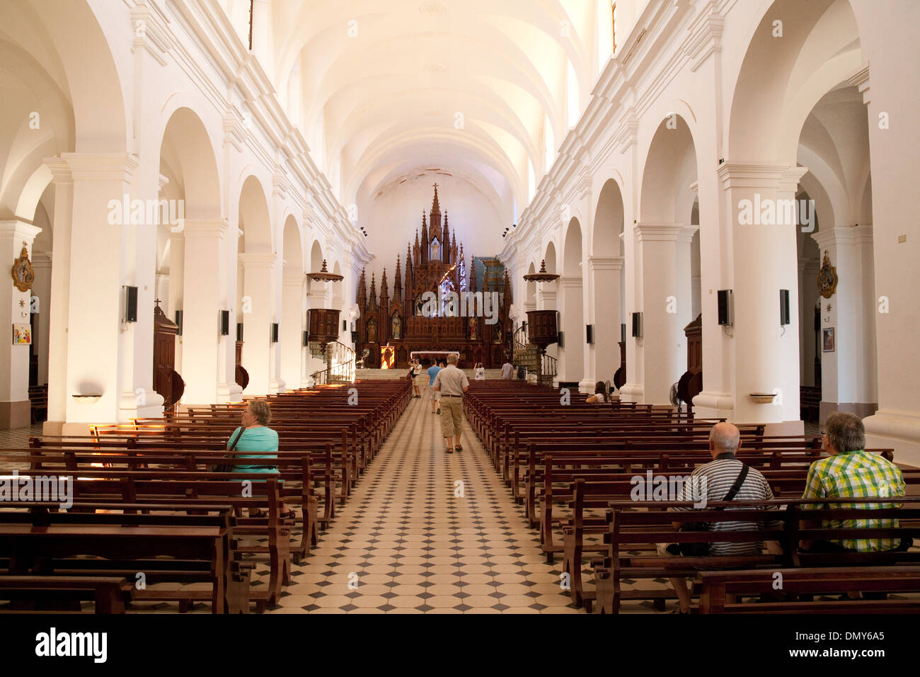 Interior of the Church of the Holy Trinity ( Iglesia Parroquial de la Santísima ); Trinidad, Cuba, Caribbean - Stock Image
