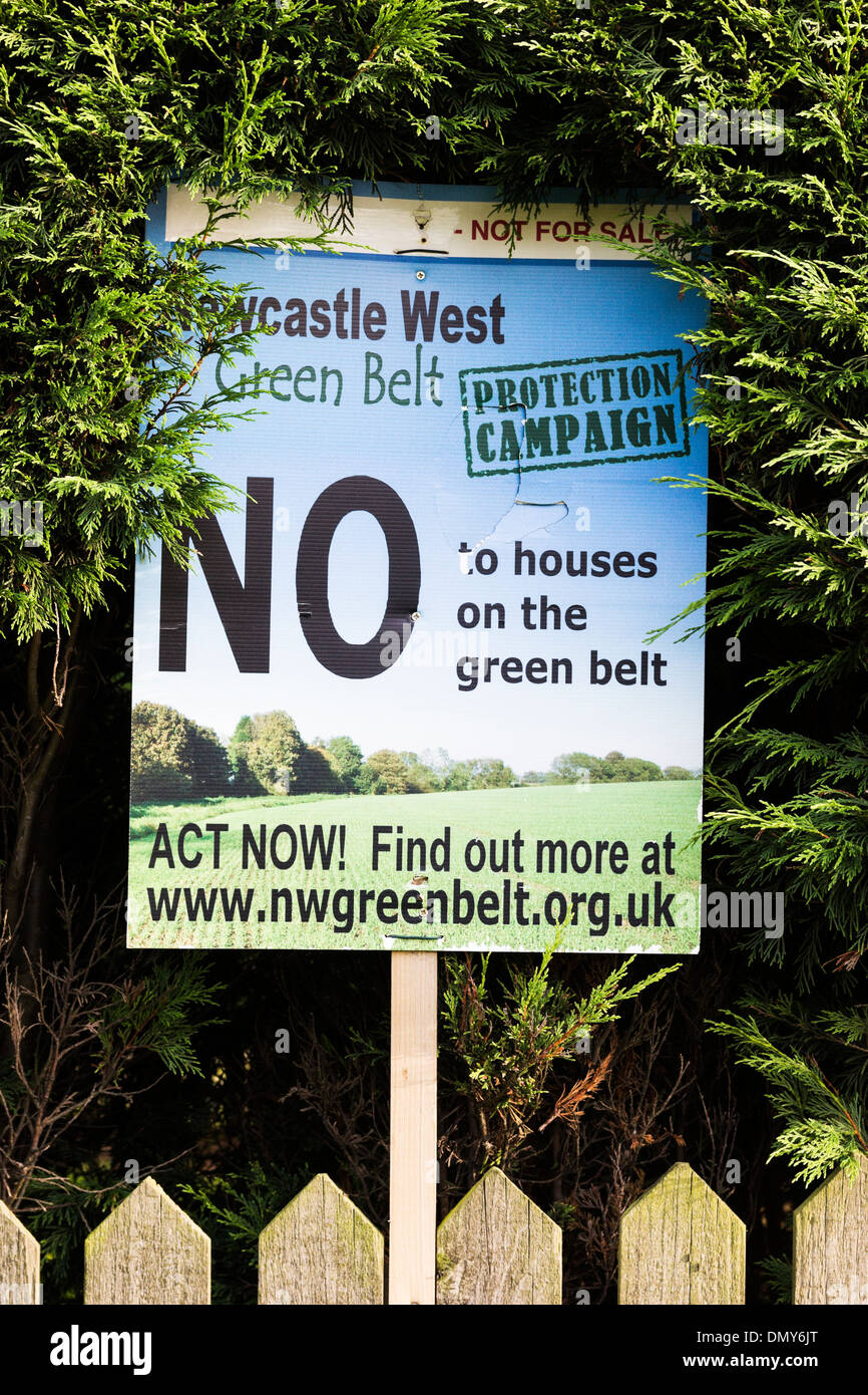 A sign by residents near Newcastle upon Tyne objecting to plans to build on land designated as green belt - Stock Image
