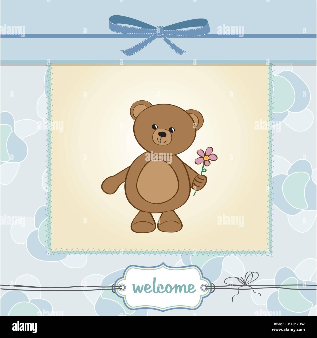 Happy Birthday Card With Teddy Bear And Flower Stock Vector Art