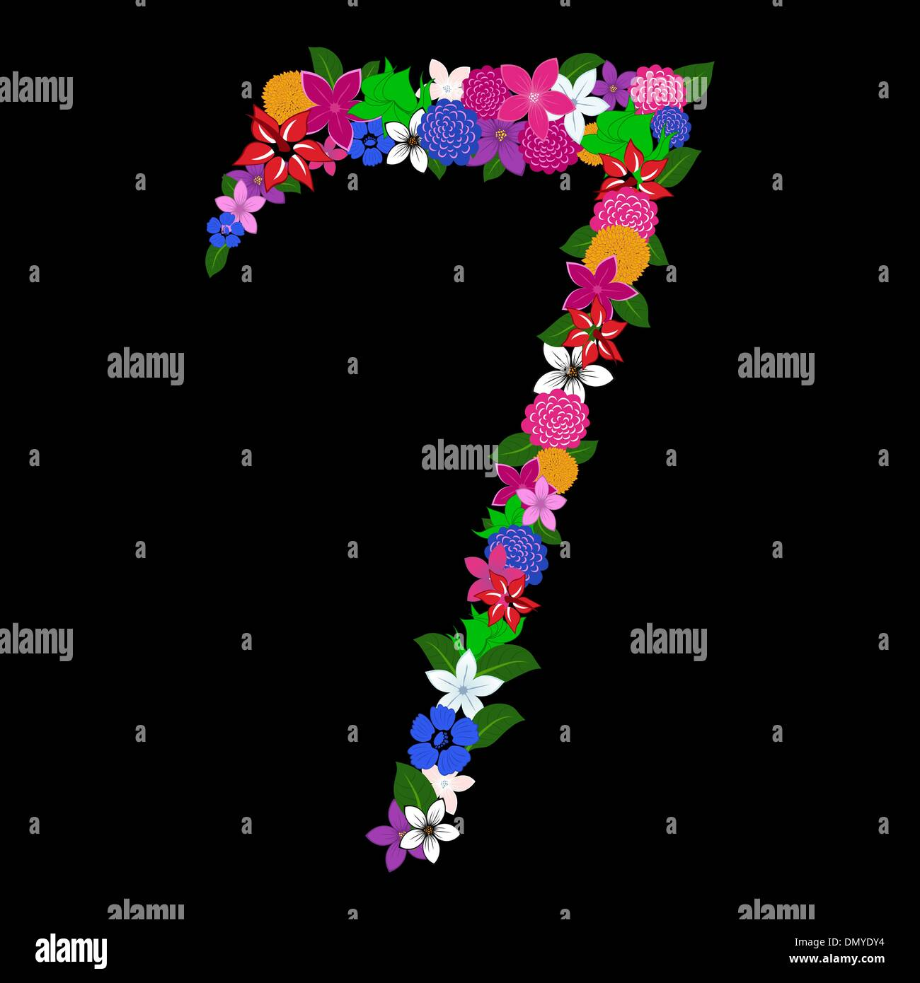 floral numeral - Stock Image