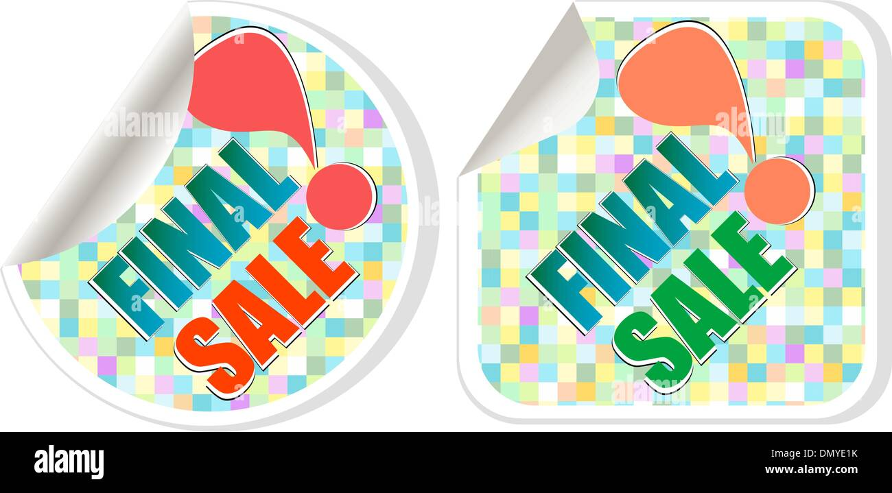 Final sale - best discount sale stickers set - Stock Vector