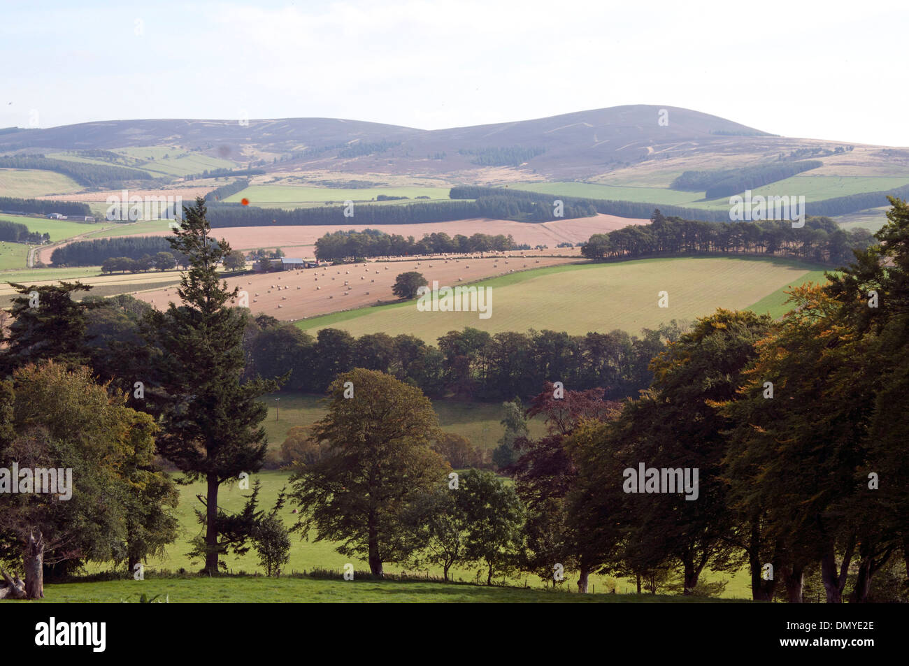 royal deeside aberdeen with countryside and farmland - Stock Image
