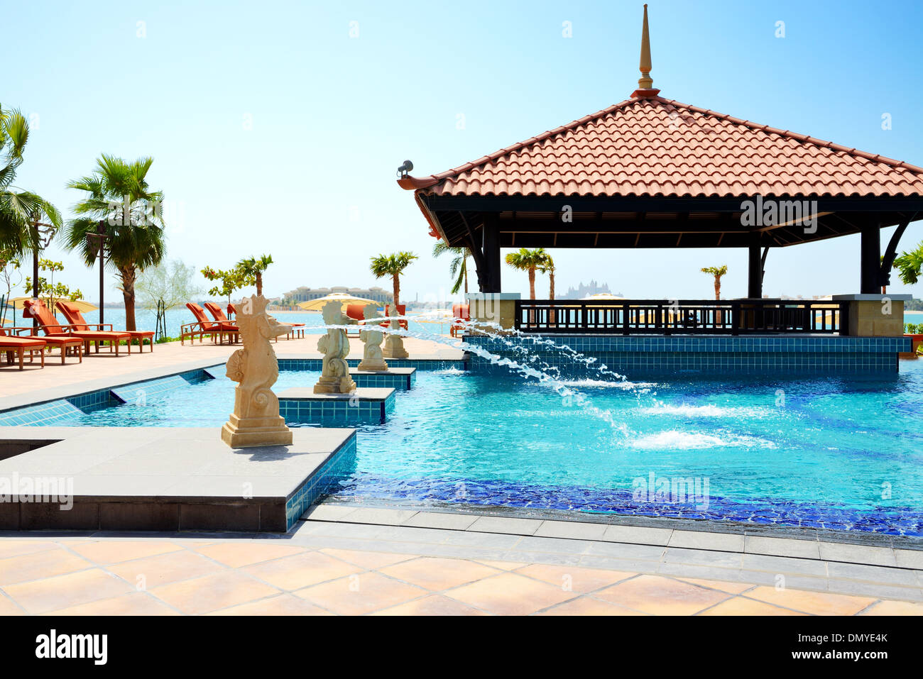 The swimming pool near beach in Thai style hotel on Palm ...