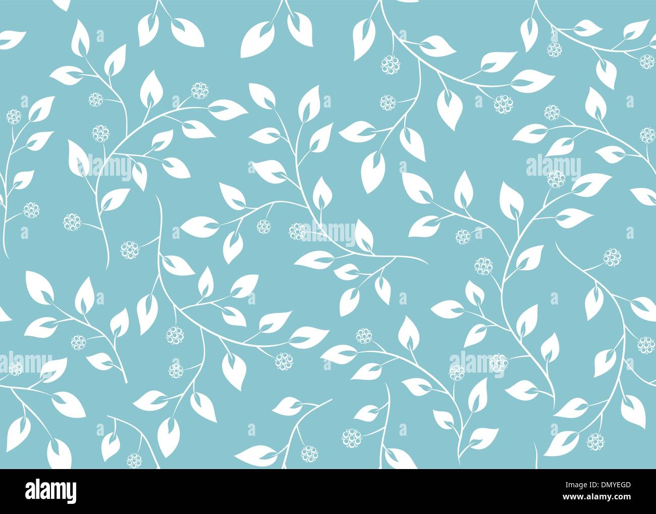 vector seamless light blue floral texture - Stock Image