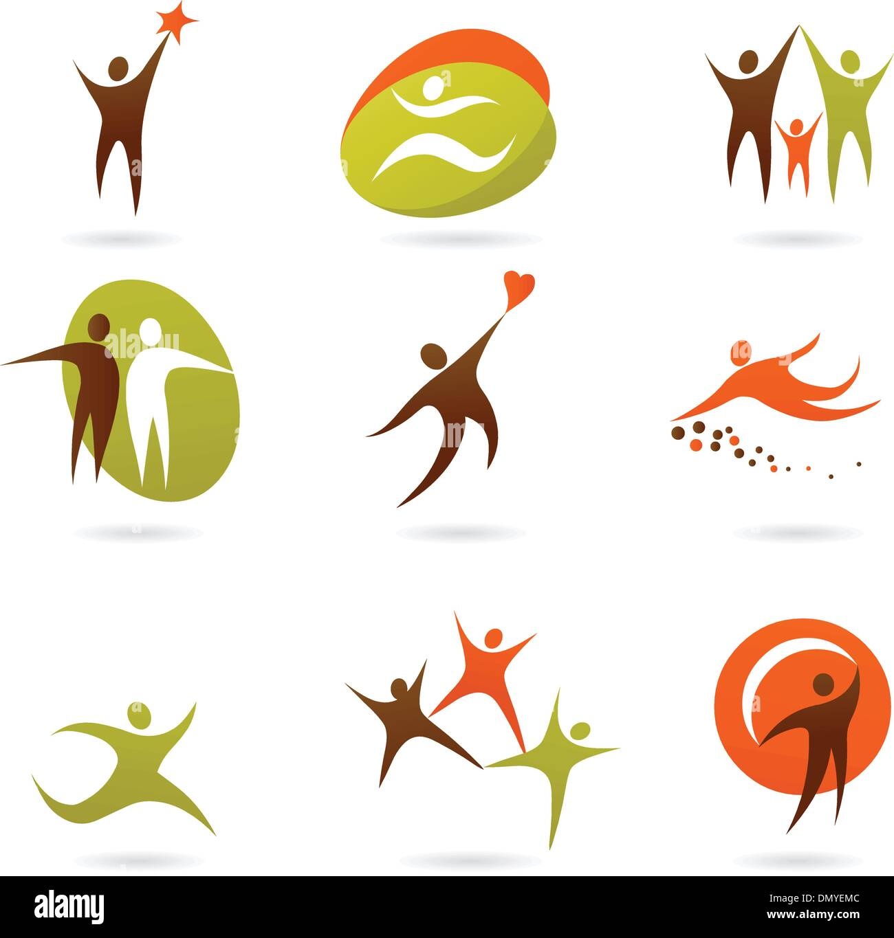 Collection of abstract people logos - 16 - Stock Image