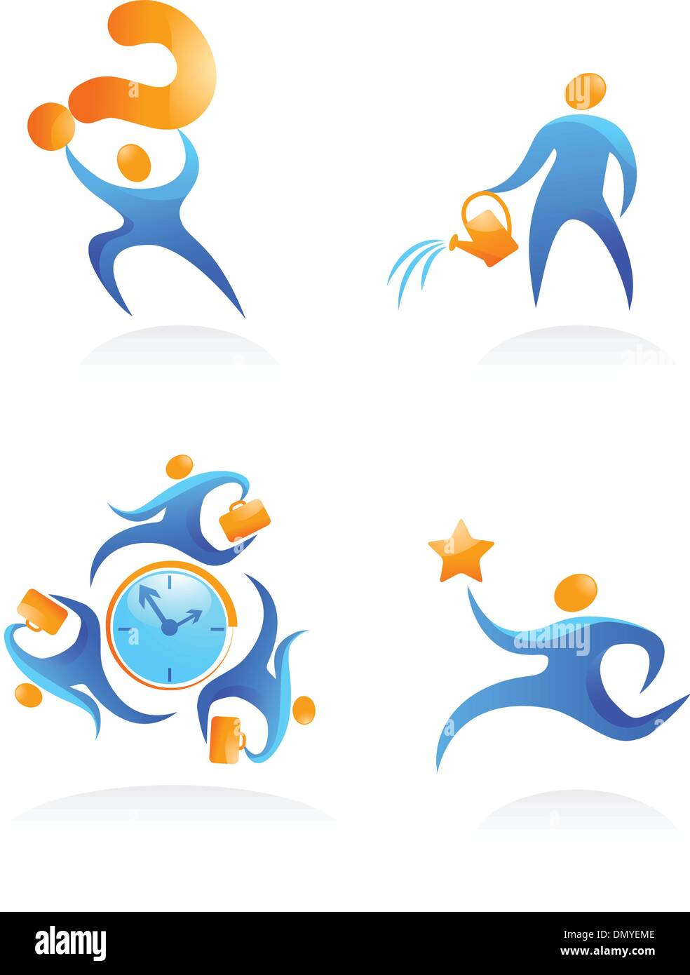Collection of abstract people logos - 12 - Stock Image