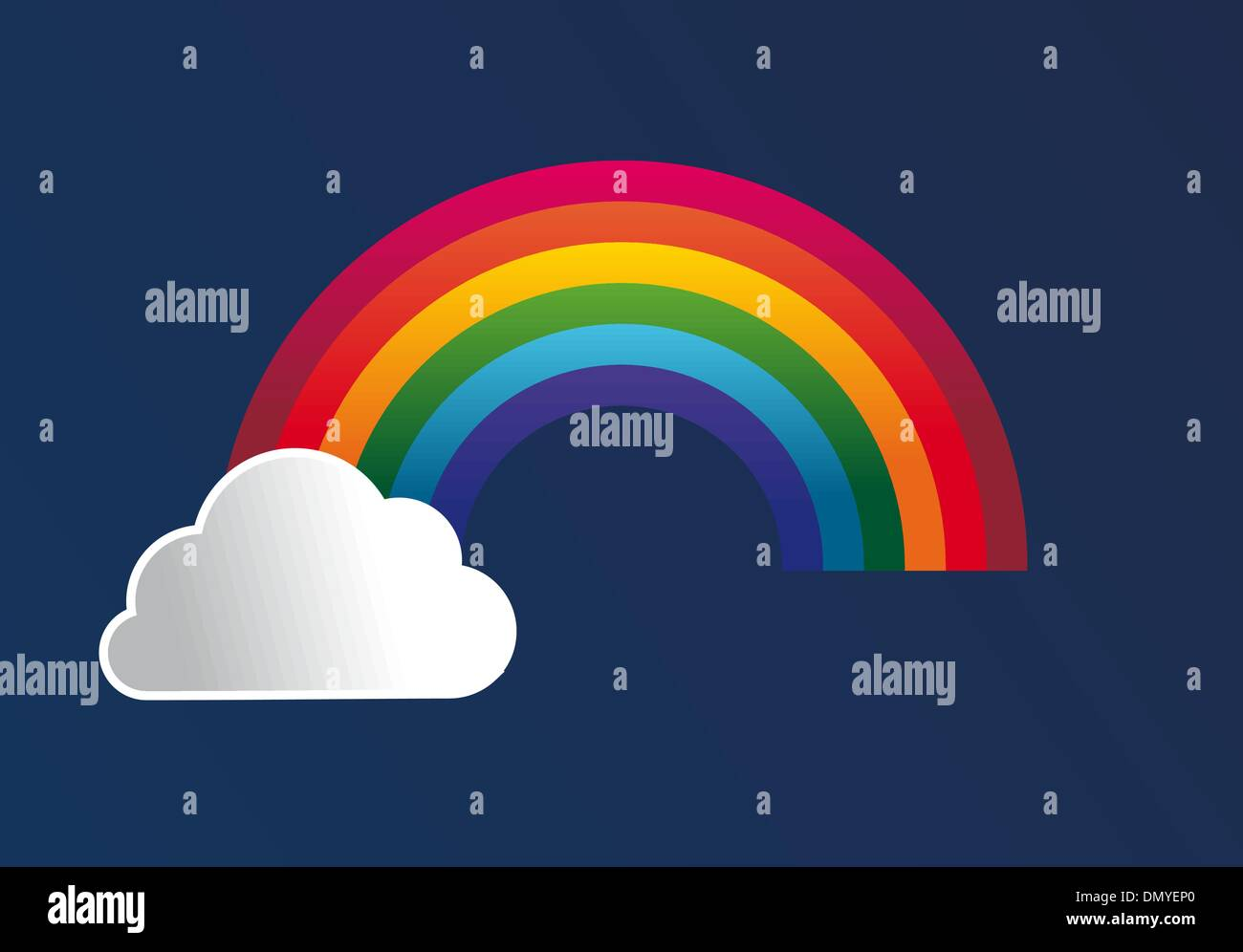 Rainbow with clouds cartoon background Stock Vector
