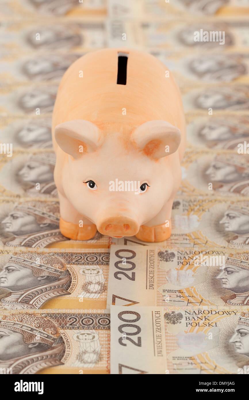 pink piggy on polish money as background - Stock Image