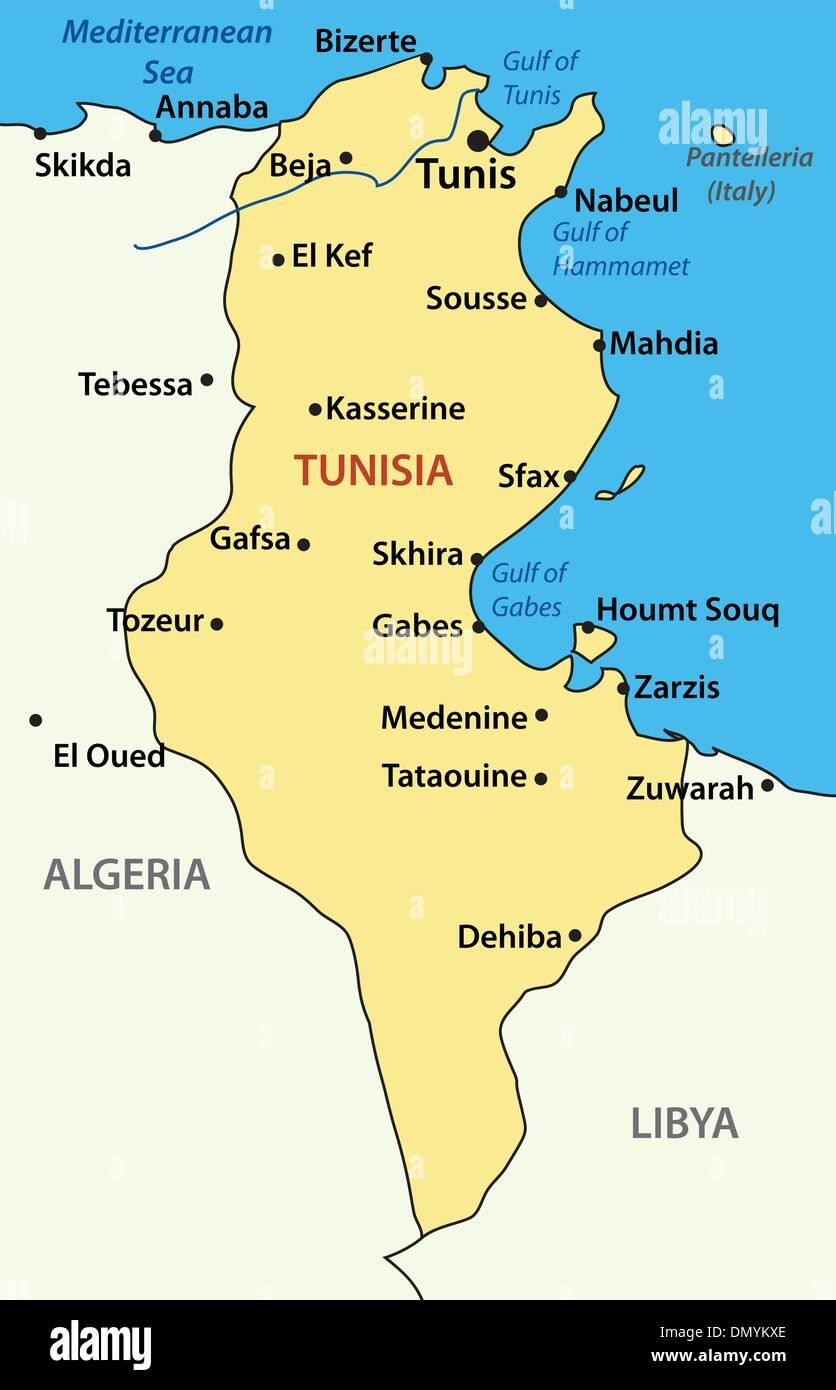 vector illustration - map of Tunisia - Stock Vector