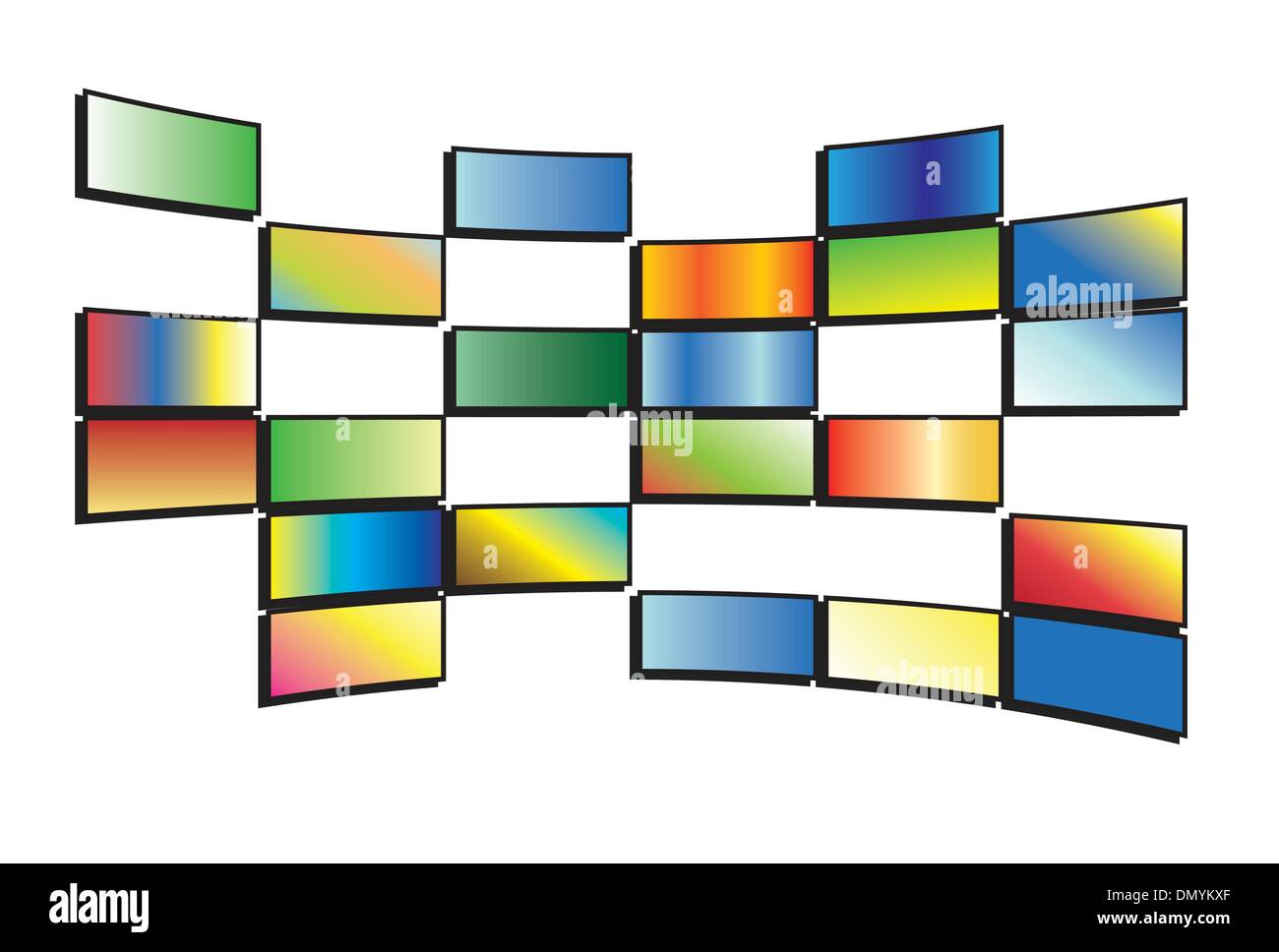 vector illustration of color tv screens - Stock Image