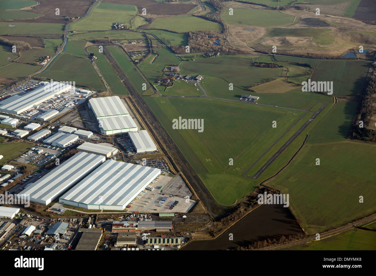 aerial view of Sherburn Airfield in Yorkshire - Stock Image