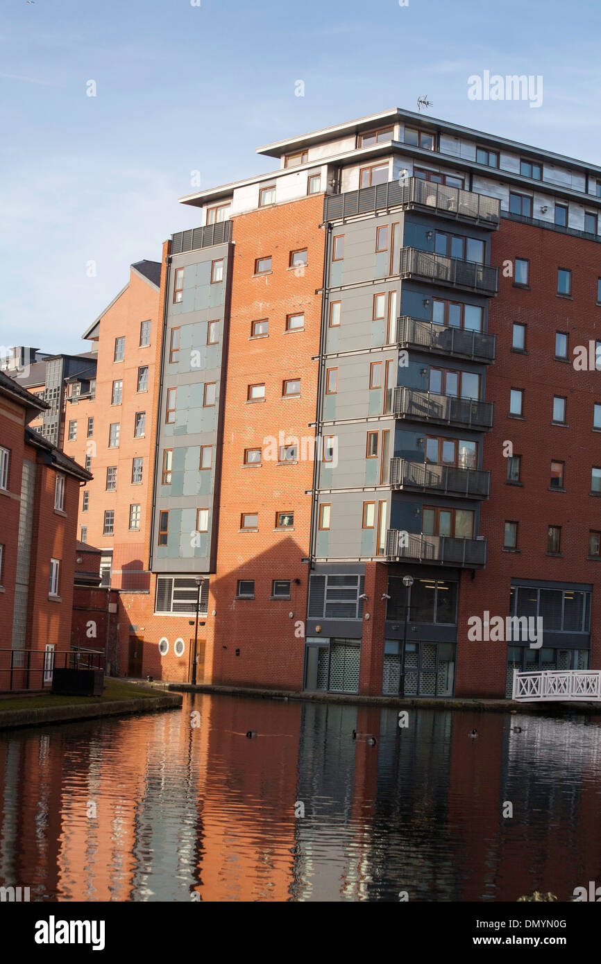 New apartment block by The Ashton Canal Piccadilly Village   Manchester England - Stock Image