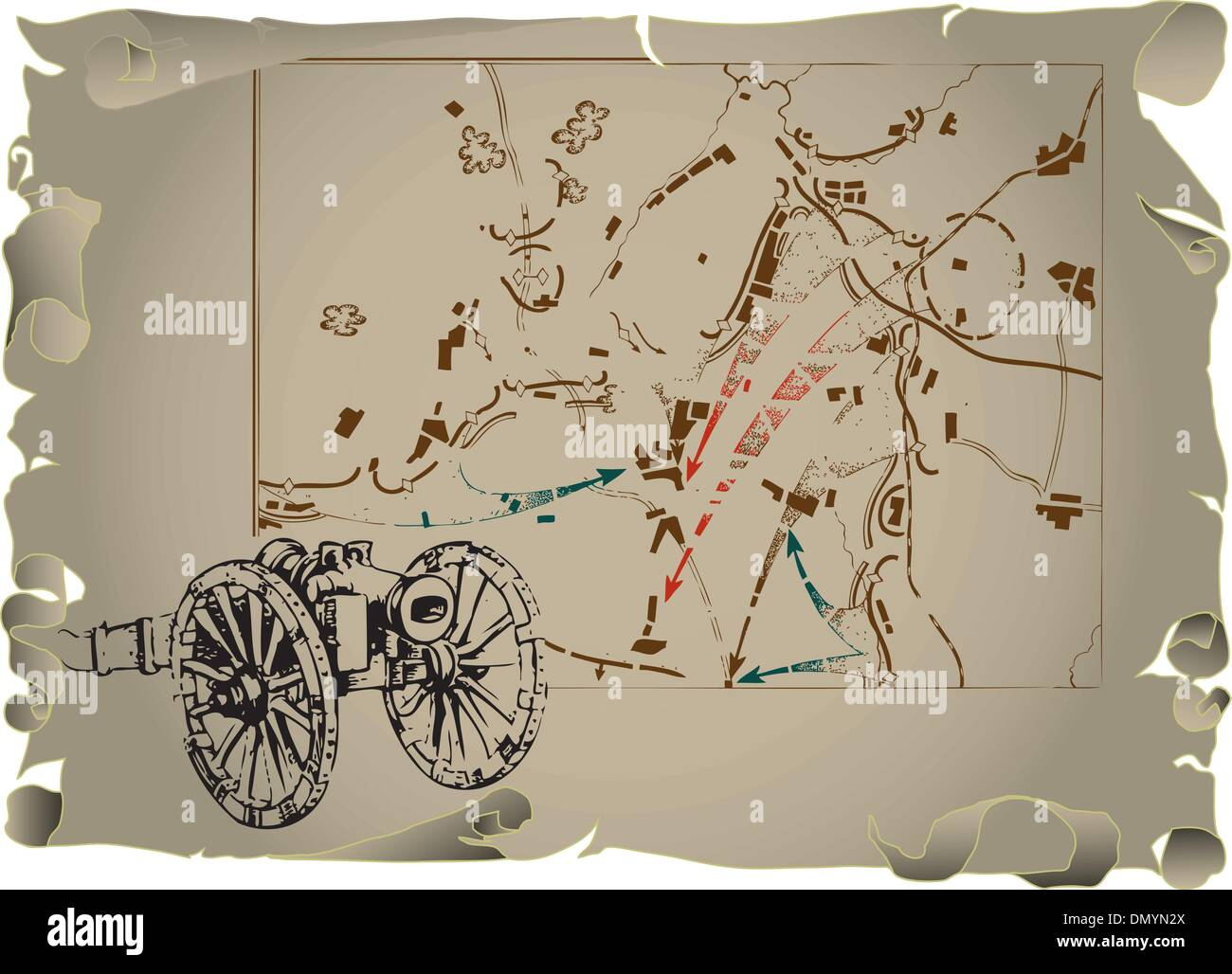 Old map of the battle - Stock Vector