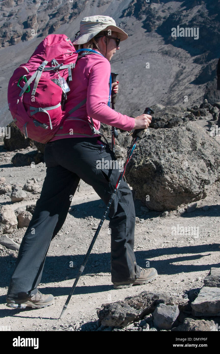A female trekker on the Machame route to the summit of Kilimanjaro - Stock Image