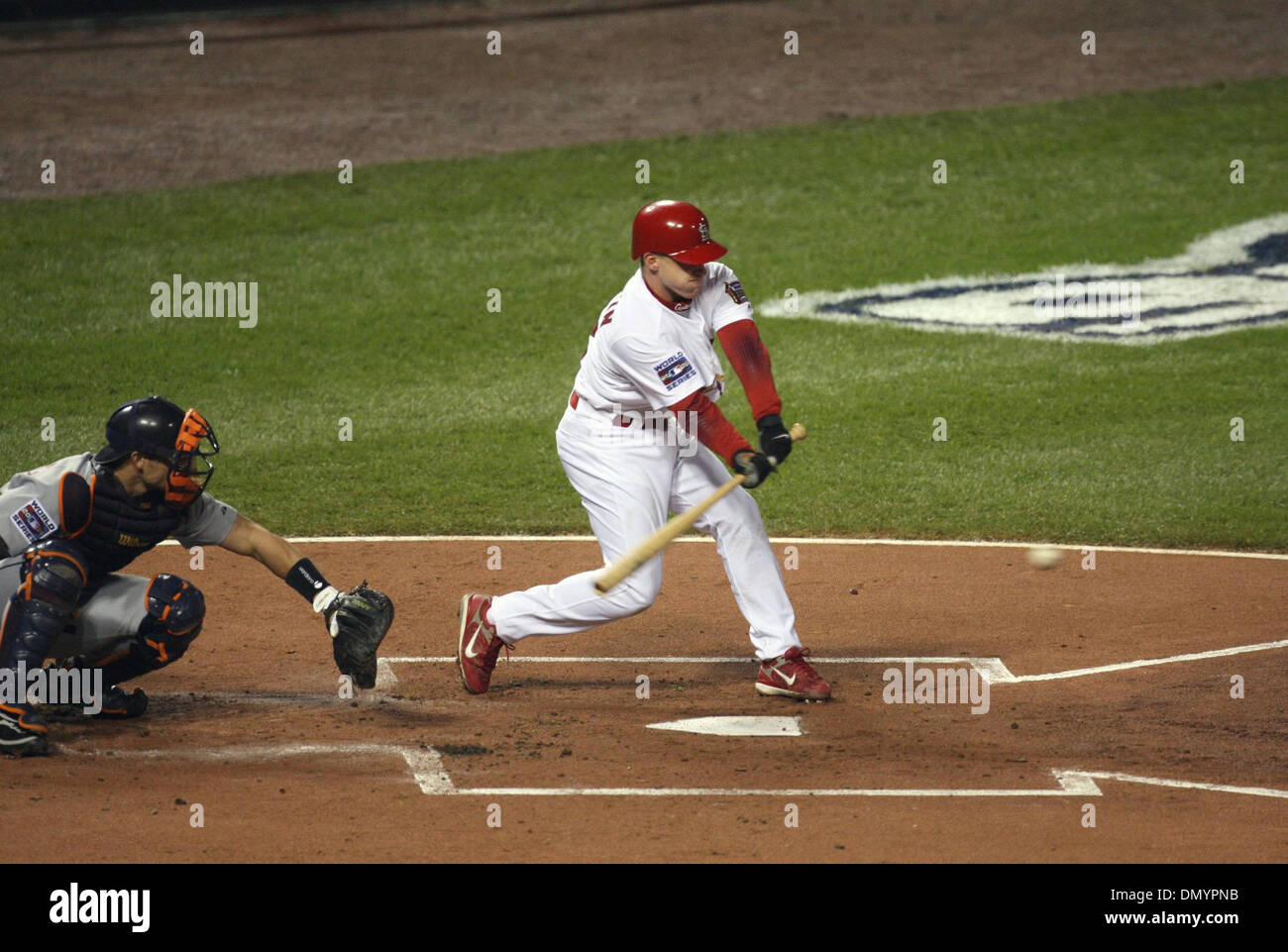 Oct 26 2006 St Louis MO USA Cardinal DAVID ECKSTEIN Hits A Single And Is Safe At First In The Inning Game 4 Of World Series Busch