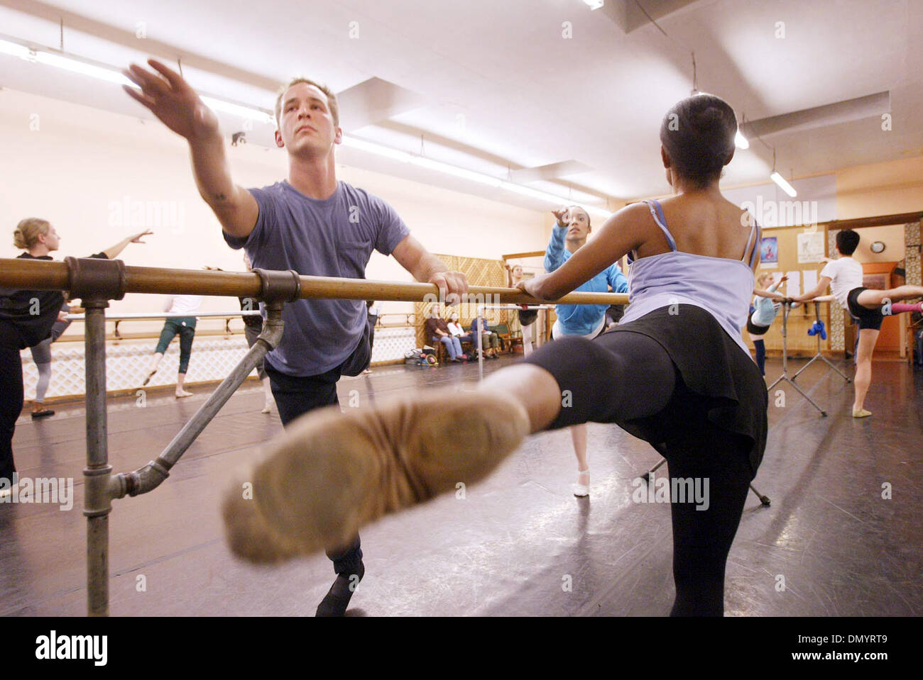 Nov 08, 2006; Hayward, CA, USA; Nutcracker Ballet dancers BEN BARNHART, left, and MICHELLE BROWN rehearse at the Stock Photo