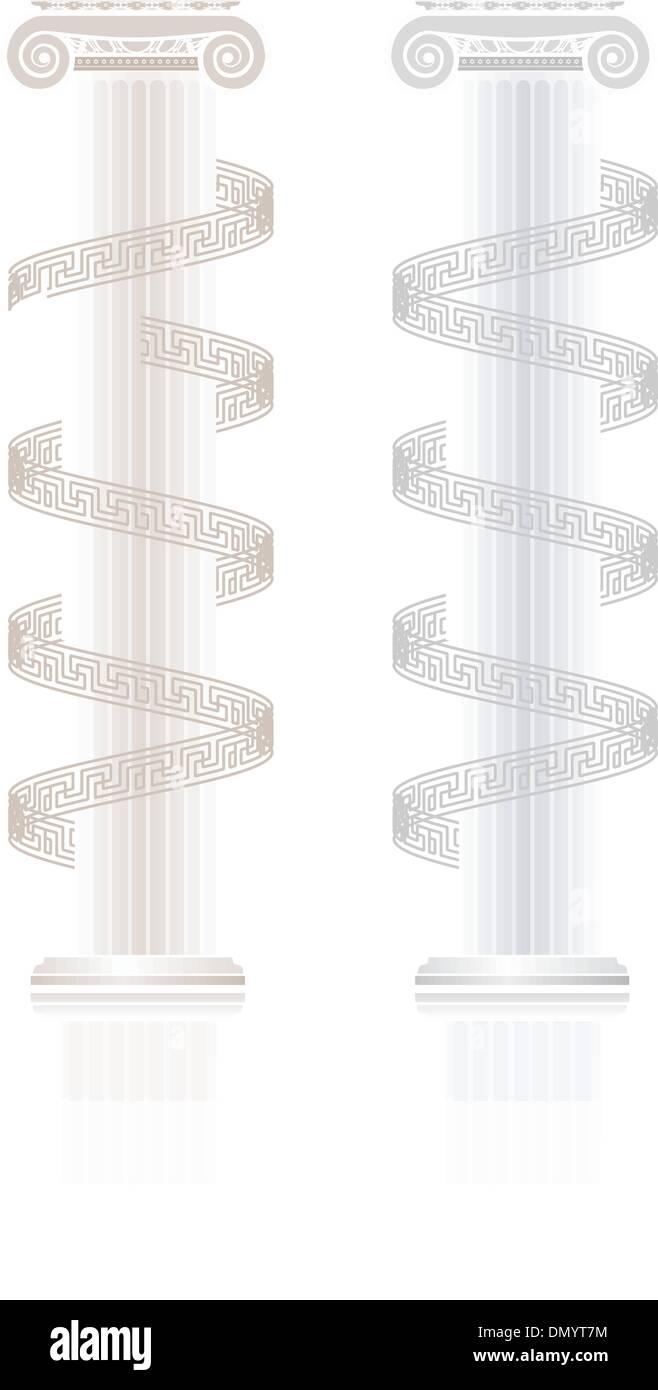 Ionic Column With Greek Key Pattern Stock Image