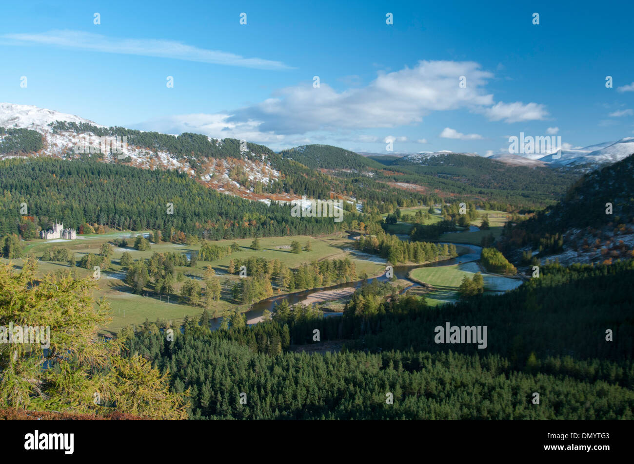 glen at braemar with forestry in the  highlands by deeside of the earls of mar - Stock Image