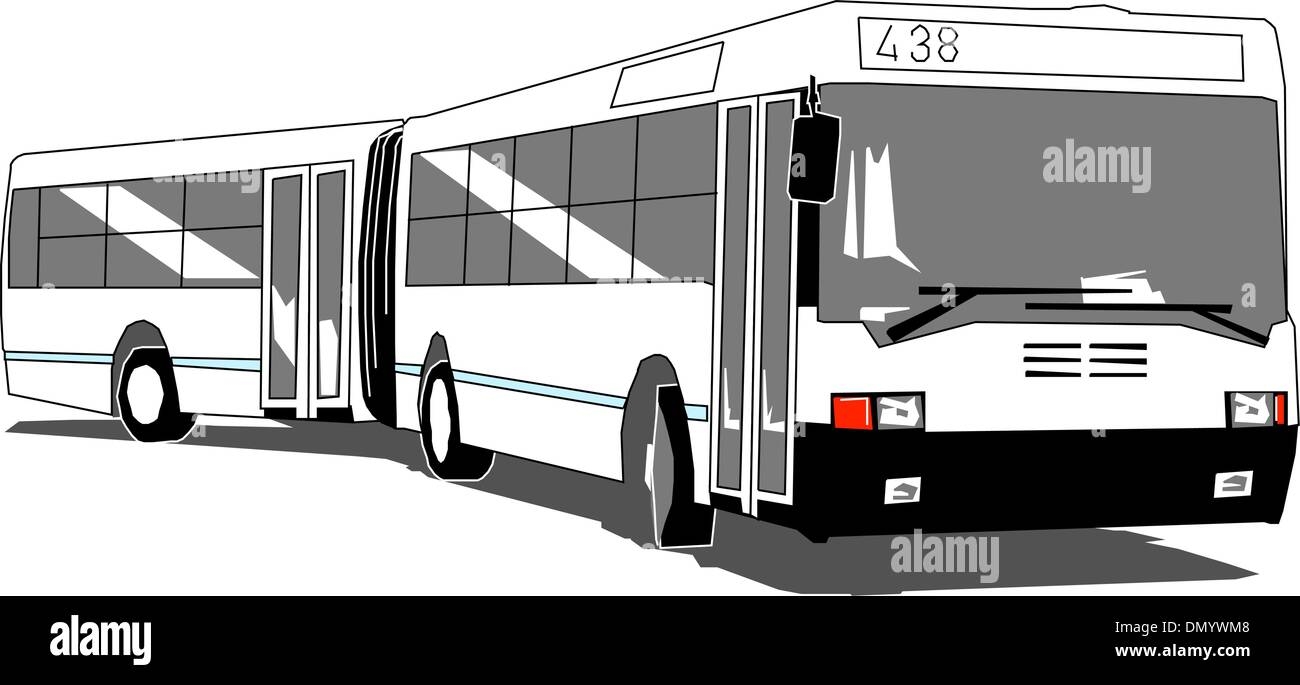 City bus articulated isolated - Stock Vector