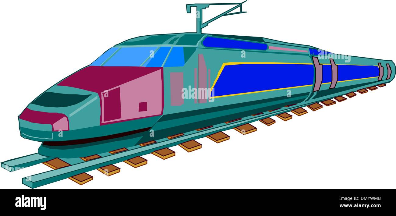 Speed passenger train in vector - Stock Image