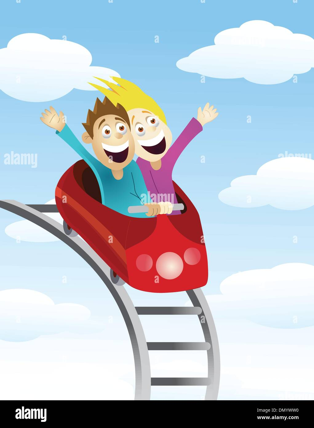 Man and women an a roller coaster - Stock Vector