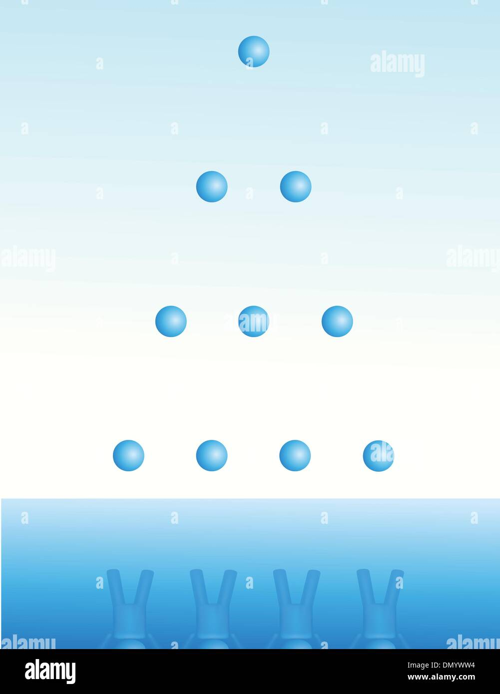 A group of people team up in a pyramid - Stock Vector
