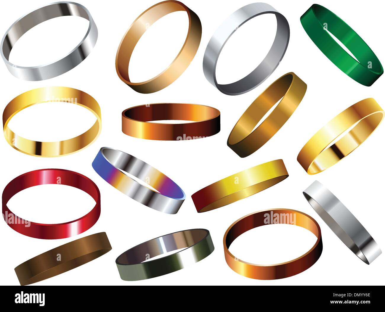 Metal Rings Bracelets Wristband Set - Stock Image