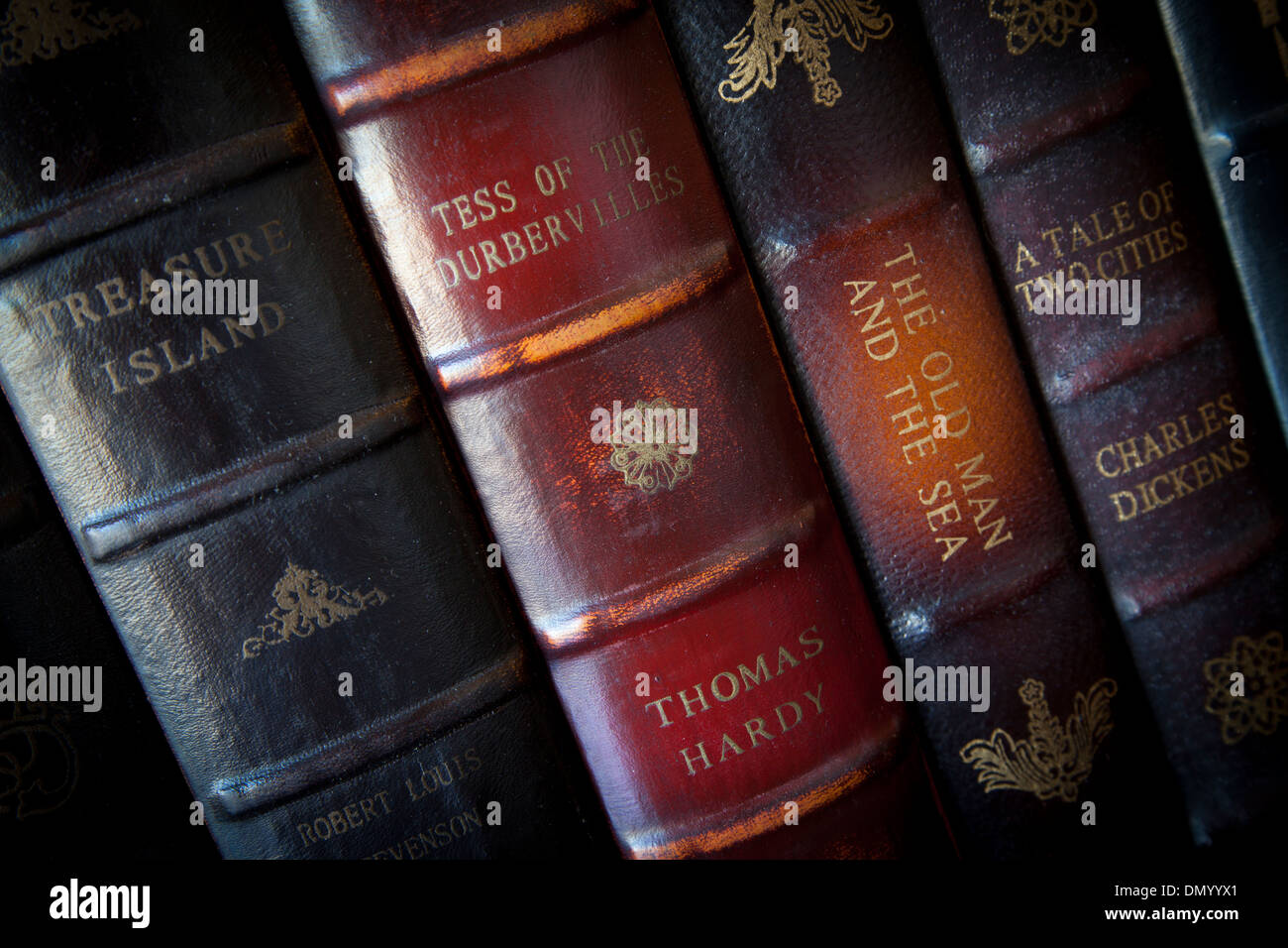 Collection of classic antique books from historic authors - Stock Image