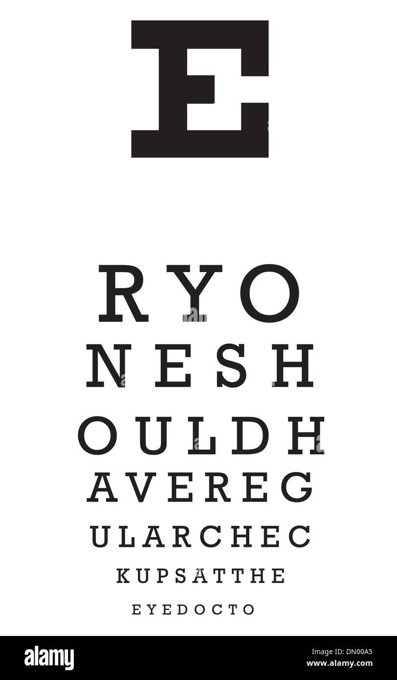 Eye Chart Vector - Stock Image