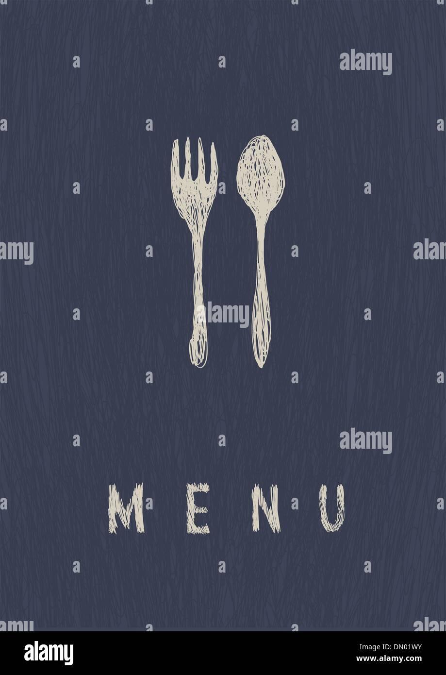 Stylish Restaurant  Menu. A4 format, vector. - Stock Image