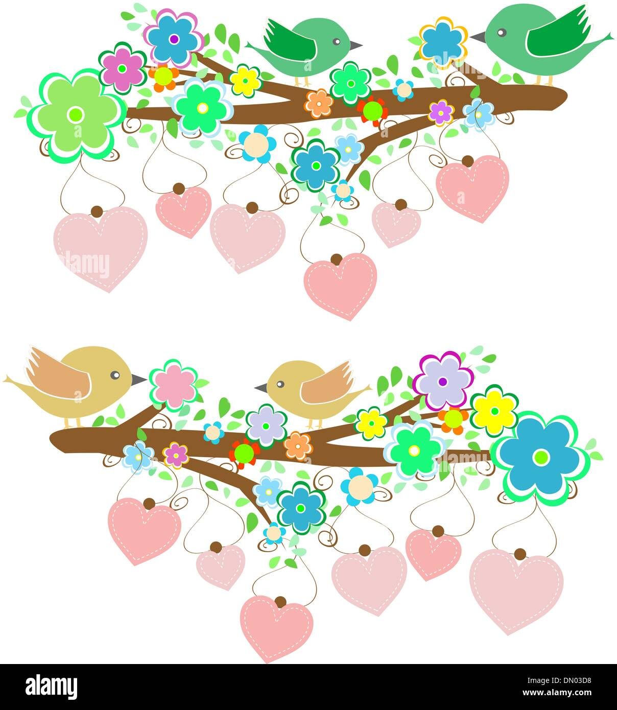 The bird sings sitting on tree branch with love heart - Stock Vector