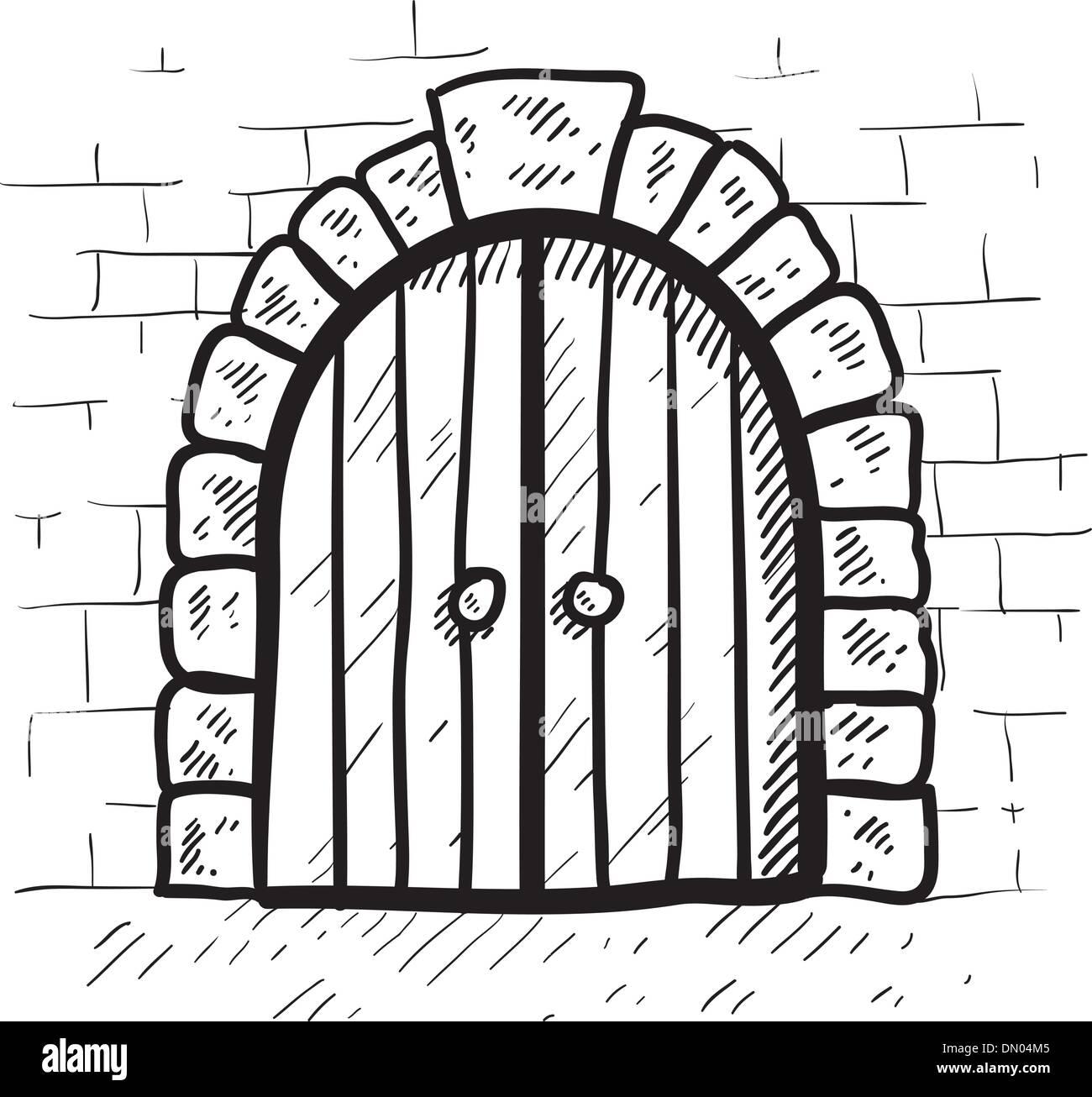 Secure castle door vector sketch  sc 1 st  Alamy & Secure castle door vector sketch Stock Vector Art u0026 Illustration ...