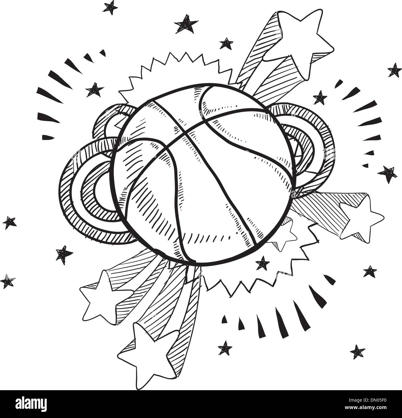 Basketball excitement sketch - Stock Image