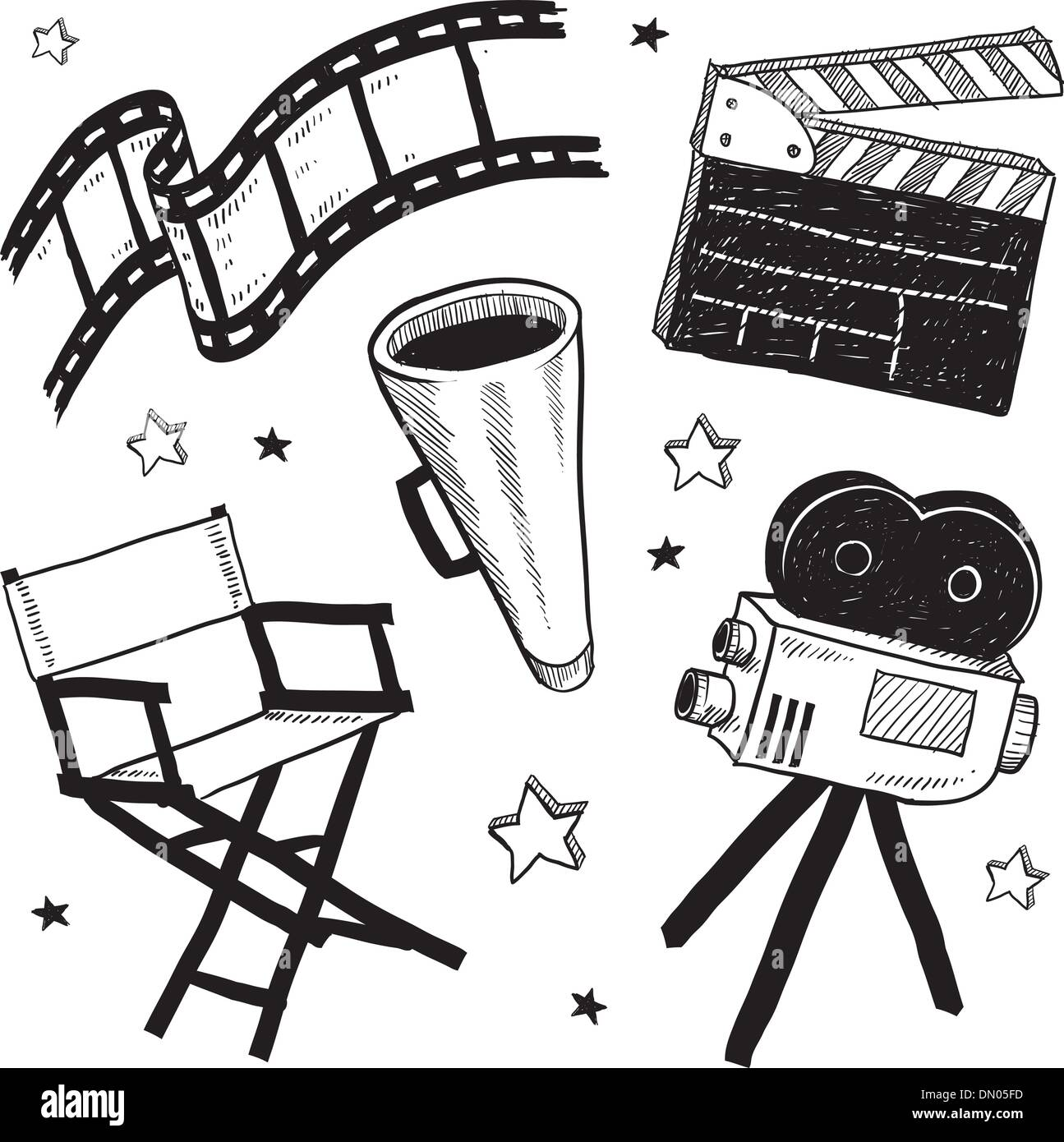 Movie set objects sketch Stock Vector Art & Illustration