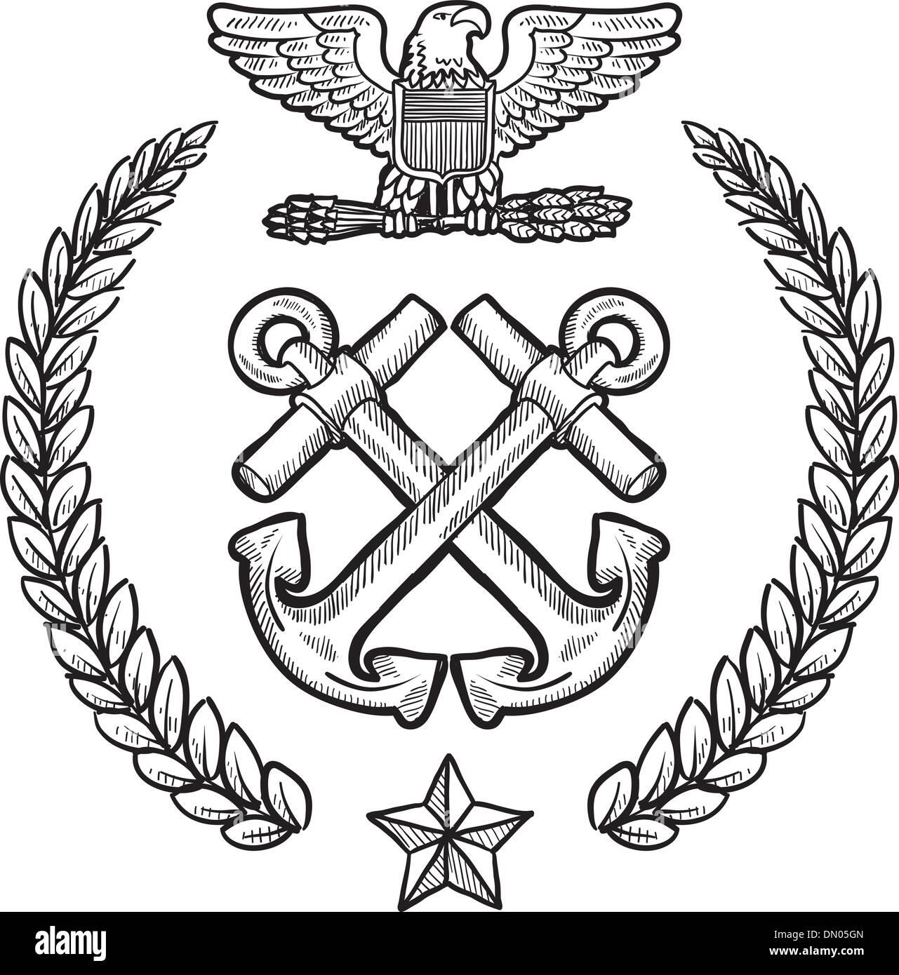 Us Navy Vector Insignia Stock Vector Art Illustration