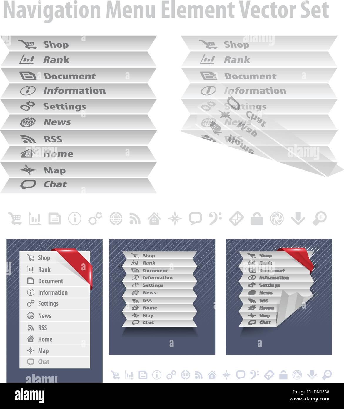 Folded navigation menu - Stock Image