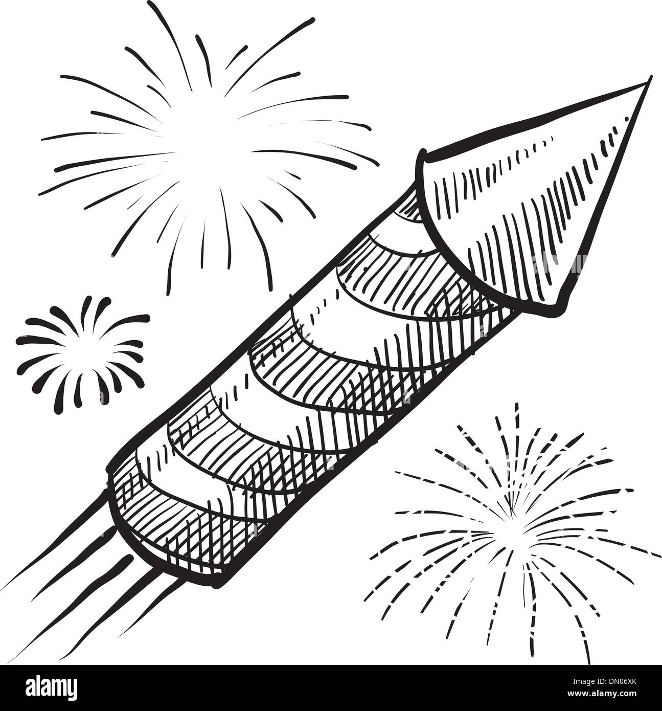 Holiday fireworks sketch - Stock Vector