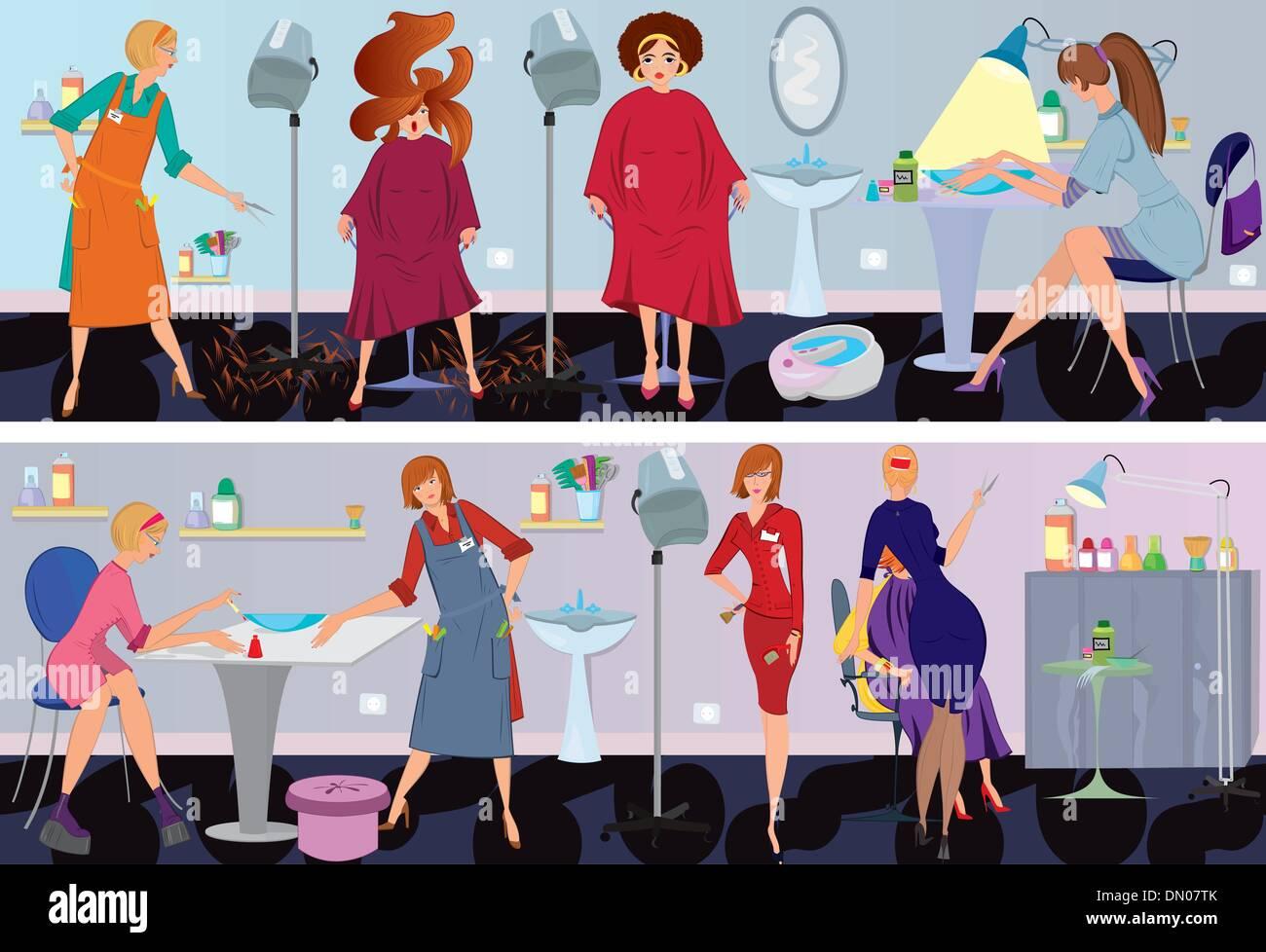 Beauty Salon Banner Hair Cut Stock Vector Image Art Alamy