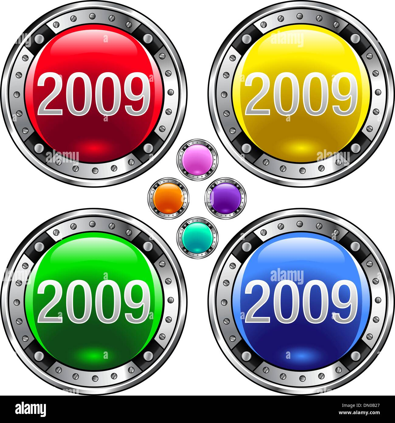 2009 colorful button - Stock Vector
