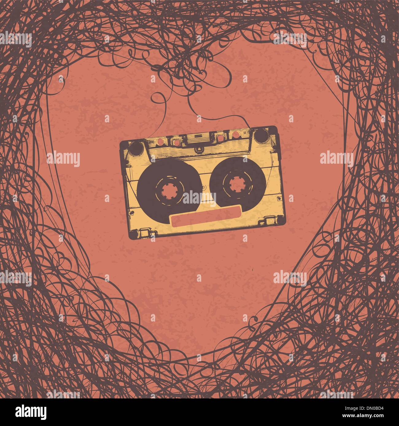 Loving retro music retro poster design. Vector, EPS10 - Stock Image