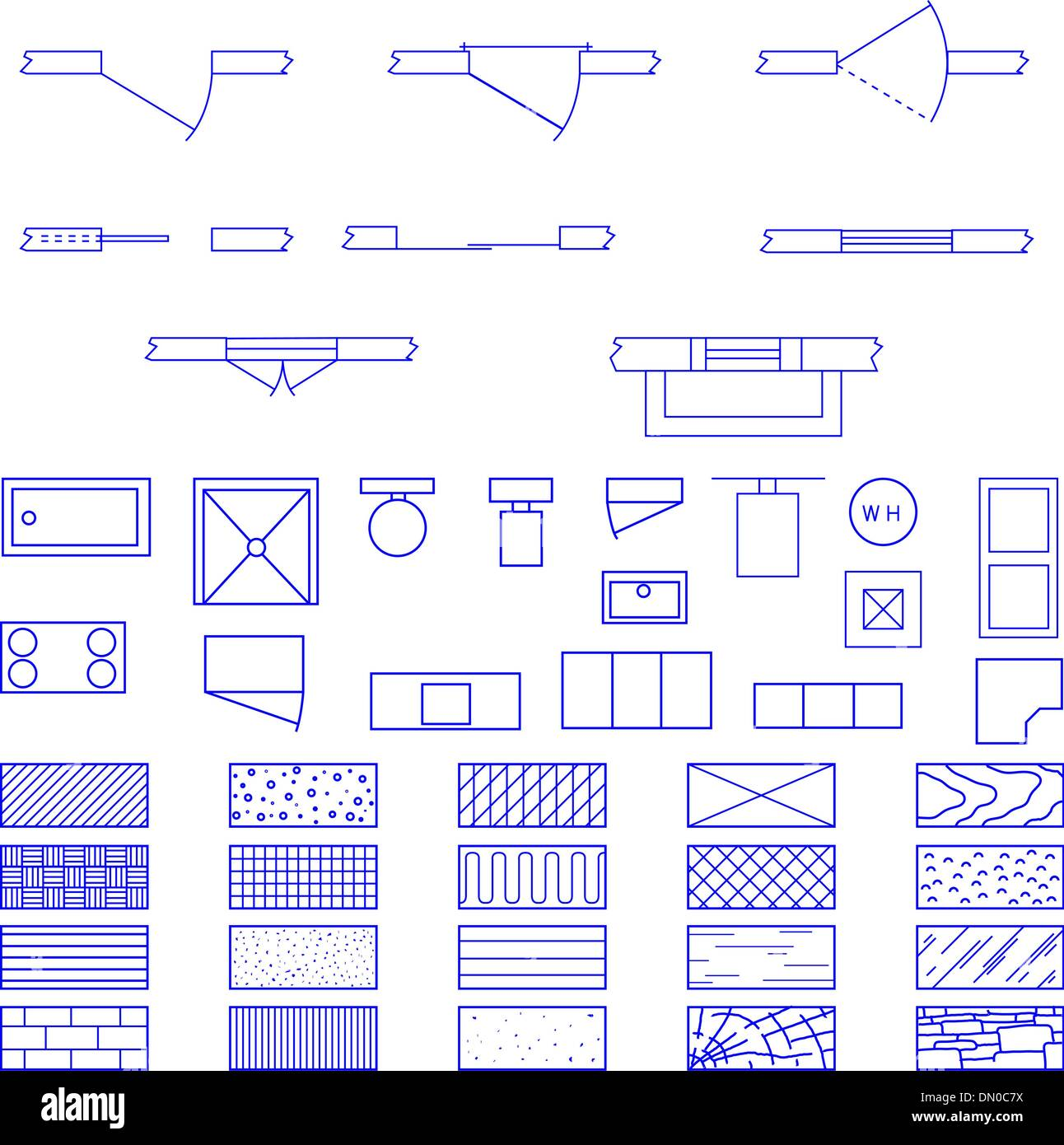 Blueprint symbols vector set stock vector art illustration vector blueprint symbols vector set malvernweather Image collections