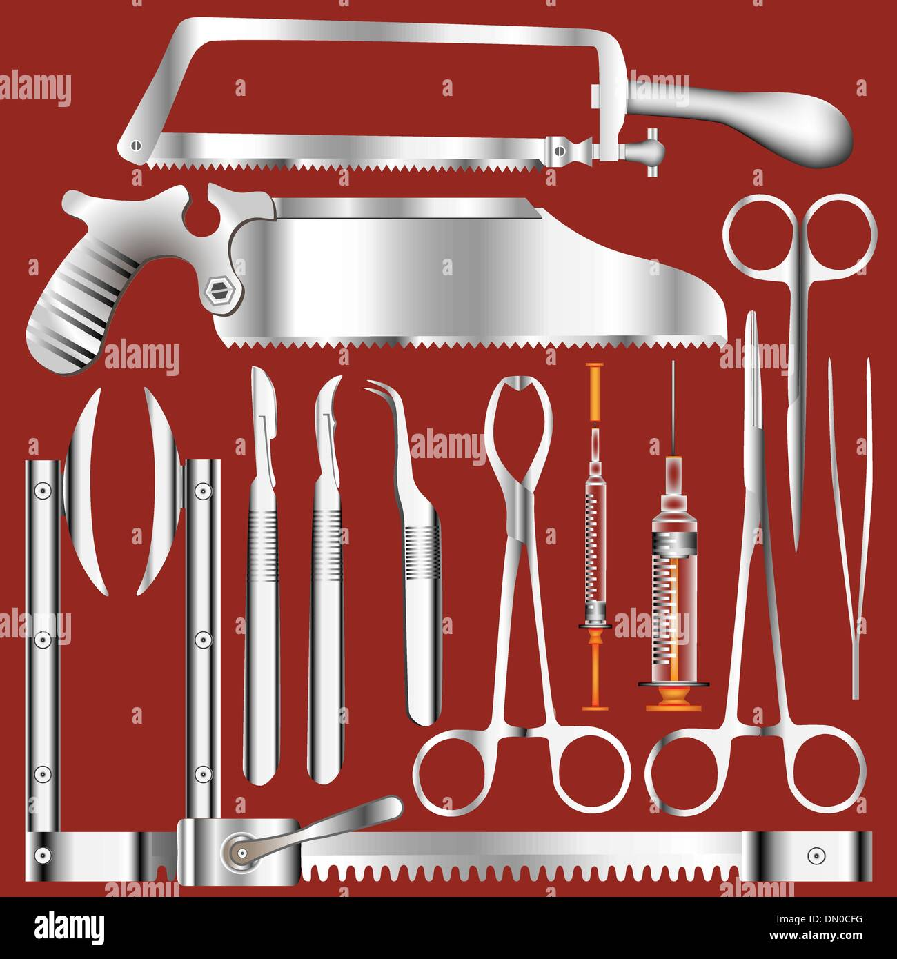 Surgical tools vector - Stock Image