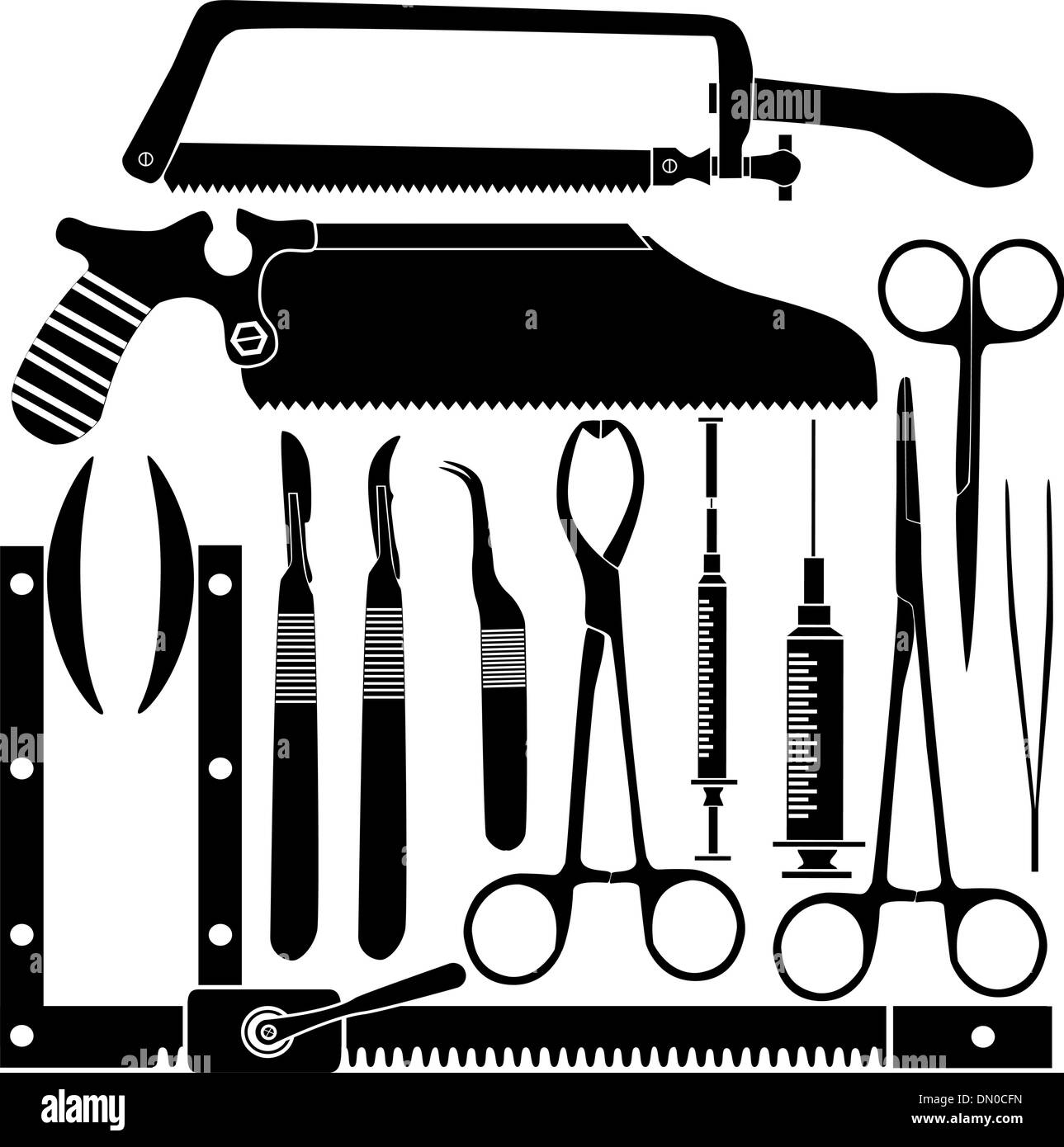 Surgical tools vector silhouettes - Stock Image