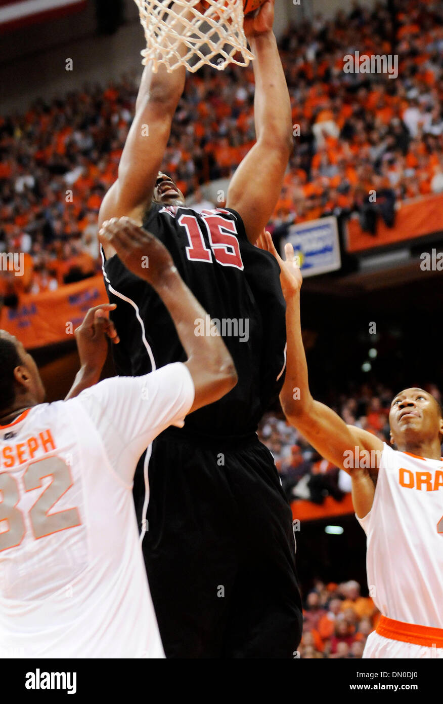 February 14, 2010:  Louisville forward Samardo Samuels (15) getsgets two points at the Carrier Dome. Louisville - Stock Image